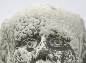 Sculpture of Chilean Arturo Prat covered with volcano ash