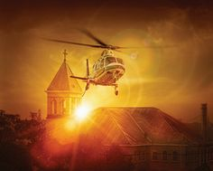 helicopter and cross
