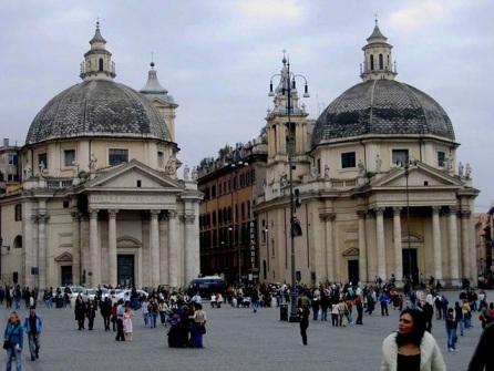 (Santa Maria dei Miracoli and Santa Maria in Montesanto Rome Piazza del Popolo.