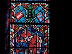 stained glass window with conf flag